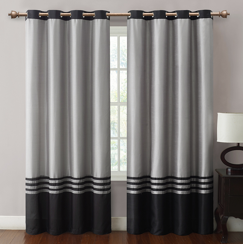 Cheap Barclay Black Grey Grommet Window Curtain Panel 55x84