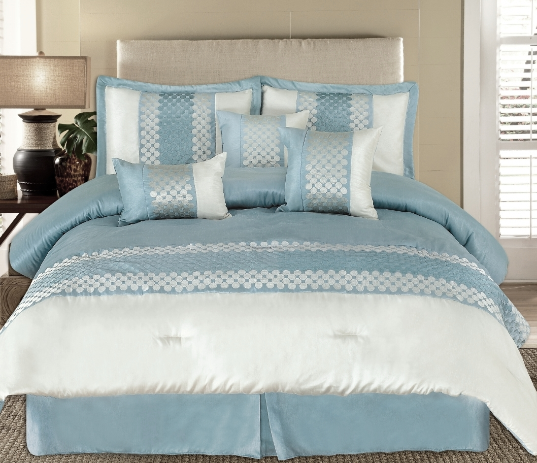 king 7pc andrea light blue luxury bedding. Black Bedroom Furniture Sets. Home Design Ideas
