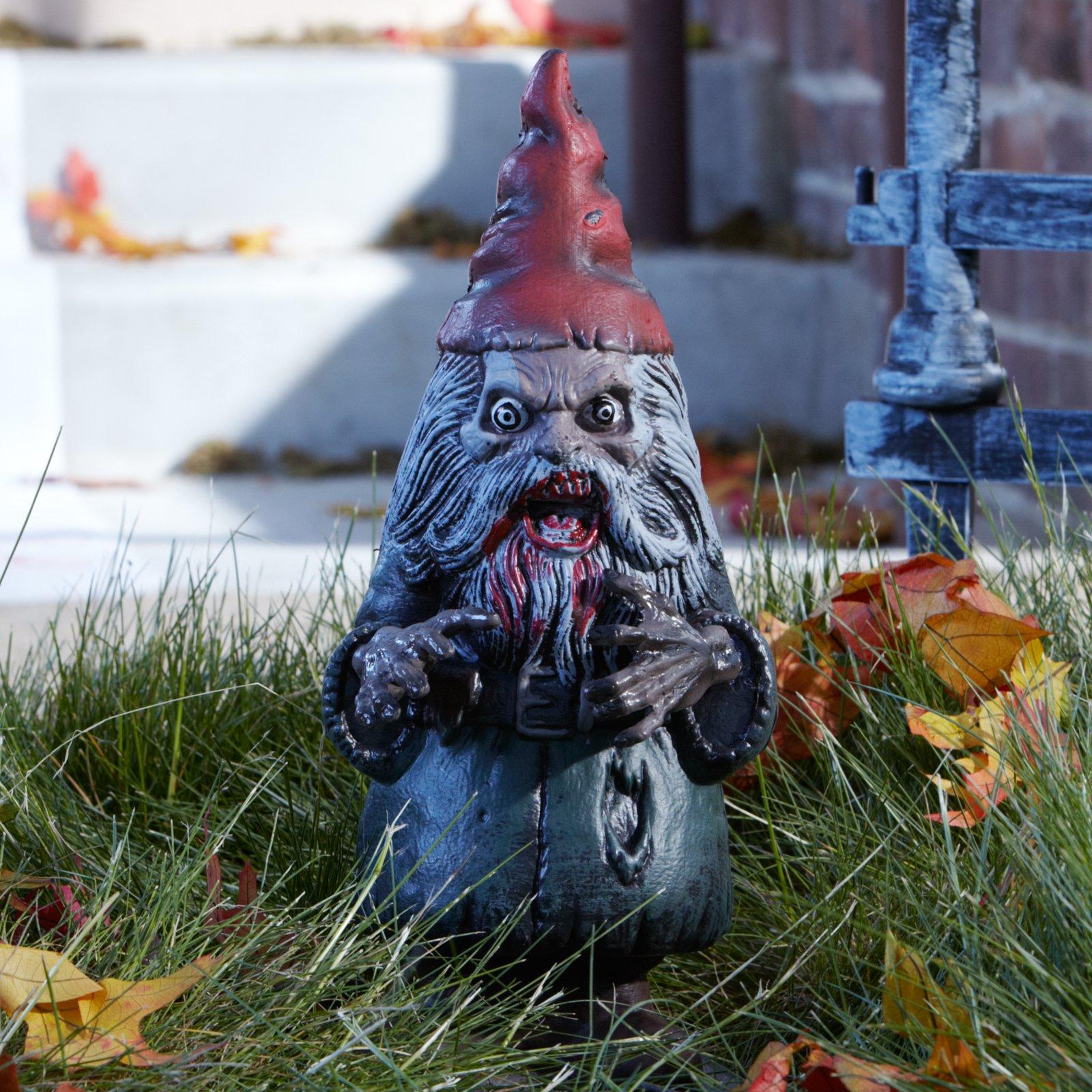 zombie-garden-gnome-silver-red | Zombie Garden Gnome - Silver/red ...