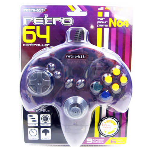 New N64 Controller - Nintendo 64 Control Pad Retrobit Clear Purple