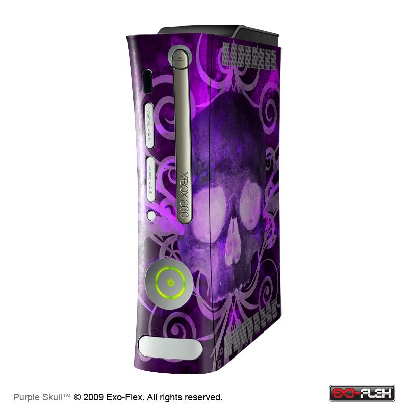 Purple Skull Xbox 360 Console Skin