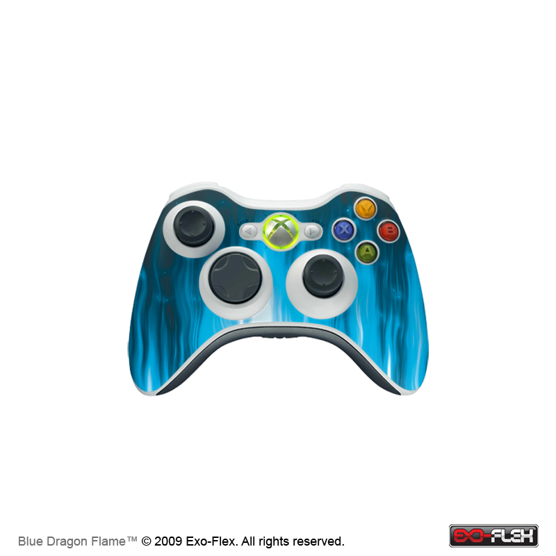 Blue Dragon Flame Xbox 360 Controller Skin