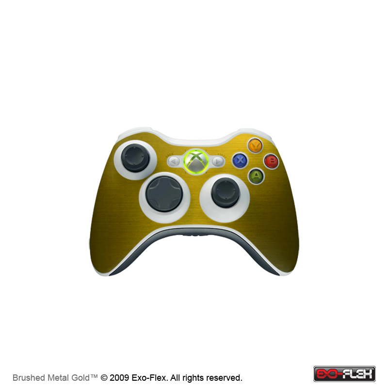 Brushed Metal Gold Xbox 360 Controller Skin