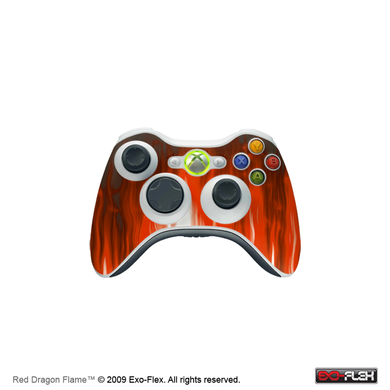 Red Dragon Flame Xbox 360 Controller Skin